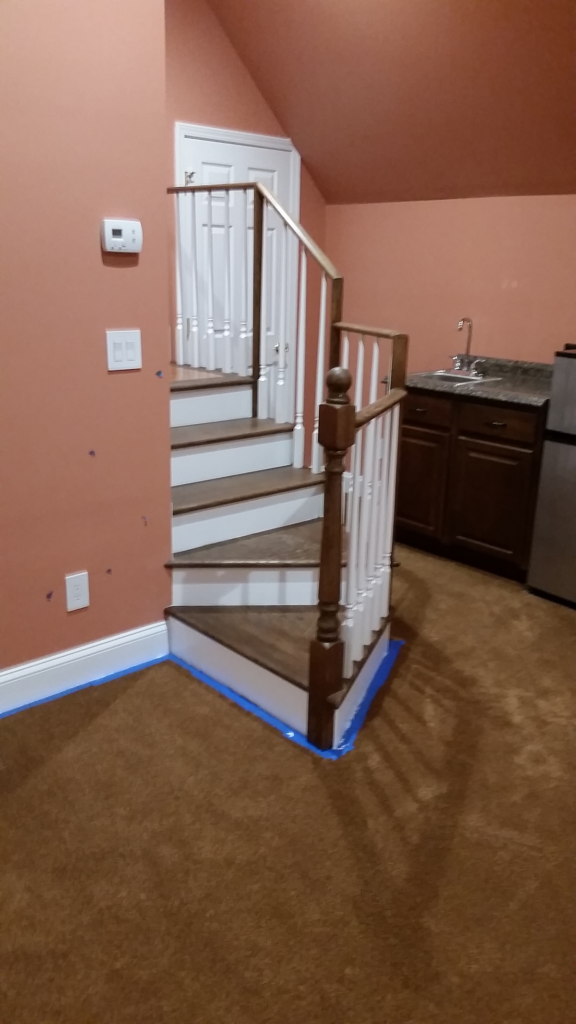 Custom carpentry - basement stairs - Fantasia Tile