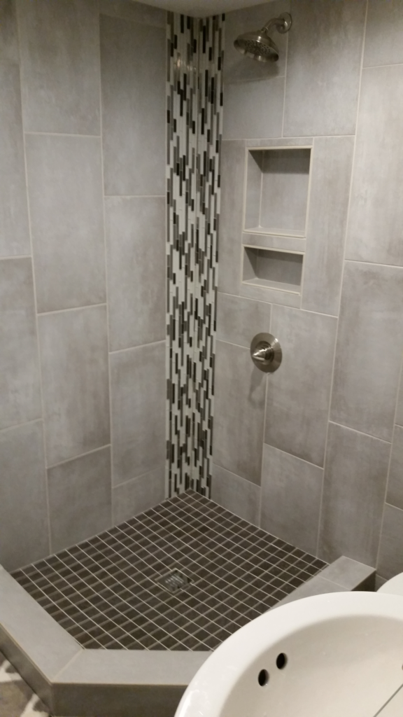 Custom basement bathroom remodel in Cary, NC - Fantasia Tile
